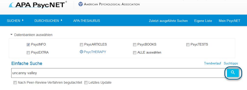 Screenshot der einfachen Suche mit eingekreister Suchschaltfläche