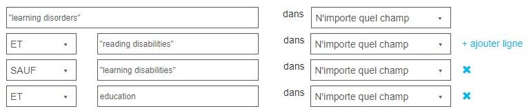 Capture d'écran montrant la page Recherche avancée avec les opérateurs ET, SAUF et OU utilisés dans la recherche