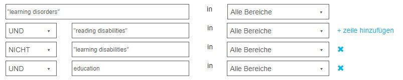 """Screenshot des Bildschirms """"Erweiterte Suche"""" mit Verwendung der booleschen Operatoren UND, NICHT und UND"""