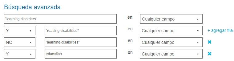 Captura de pantalla que muestra la pantalla Búsqueda avanzada con los booleanos Y, NO e Y que se usan en las búsquedas