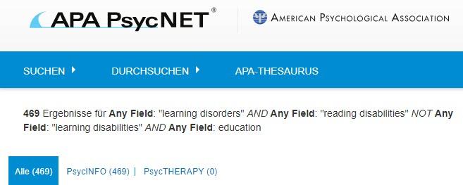Screenshot der PsycNET-Suchergebnisseite für eine boolesche Suche