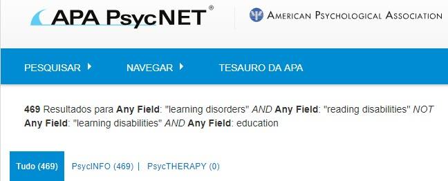 Captura de tela que mostra a página de resultados PsycNET com uma pesquisa com operadores booleanos