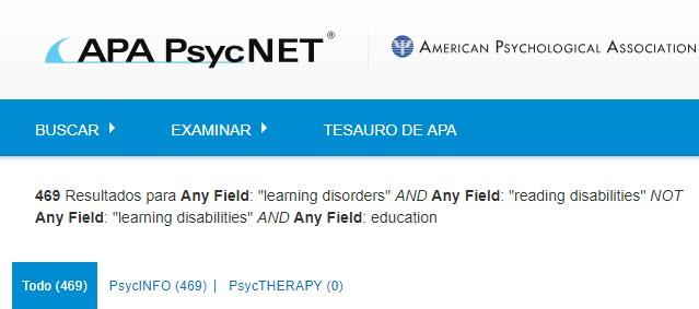 Captura de pantalla que muestra la página de resultados de búsqueda de PsycNET para una búsqueda boleana