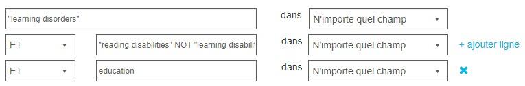 Capture d'écran montrant la page Recherche avancée de PsycNET avec une recherche pour les termes exacts «troubles de l'apprentissage», deux éléments ajoutés avec le ET, ainsi que le SAUF utilisé pour l'un d'entre eux