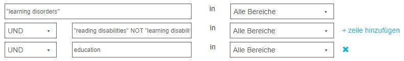 """Screenshot einer erweiterten Suche in PsycNET mit genauer Suche nach """"learning disorders"""" und zwei UND-Abfragen, wovon eine den Operator NICHT enthält"""