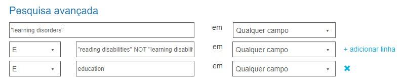 """Capturas de tela da pesquisa avançada PsycNET com a pesquisa exata de distúrbios de aprendizado com dois parâmetros """"E"""" e um """"NÃO""""."""