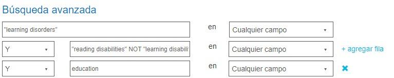 Captura de pantalla que muestra la pantalla de Búsqueda avanzada con la búsqueda exacta de trastornos del aprendizaje y dos búsquedas Y con un NO utilizando en una de ellas