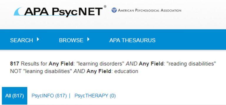 Captura de pantalla que muestra la página de resultados de búsqueda de PsycNET después de ejecutar una búsqueda con booleanos