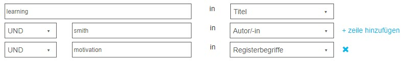 Screenshot der Felder der erweiterten Suche in PsycNET mit Verwendung von booleschem UND für Titel, Autor/-in und Registerbegriff