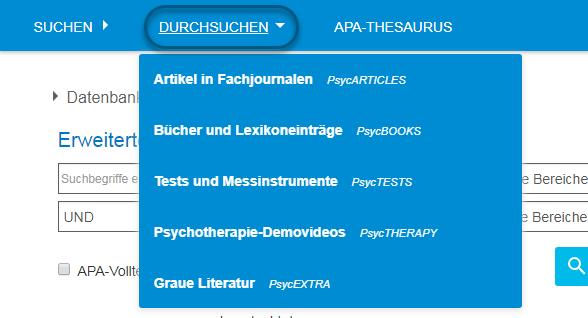 """Screenshot des PsycNET-Menüs """"Durchsuchen"""" mit den Werten Artikel in Fachjournalen - PsycARTICLES, Bücher und Lexikoneinträge - PsycBOOKS, Tests und Messinstrumente - PsycTESTS, Psychotherapie-Demovideos - PsycTHERAPY und Graue Literatur - PsycEXTRA"""