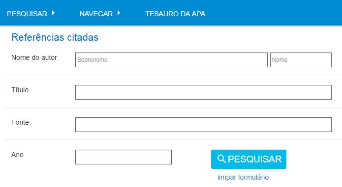 """Captura de tela mostrando o formulário de referências citadas do PsycNET, com o nome do autor com """"P. Sparrow"""" e o ano de 2005"""