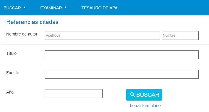 Captura de pantalla que muestra el formulario de Referencias citadas de PsycNET, con el Nombre de autor de sparrow p en los campos, así como el año 2005