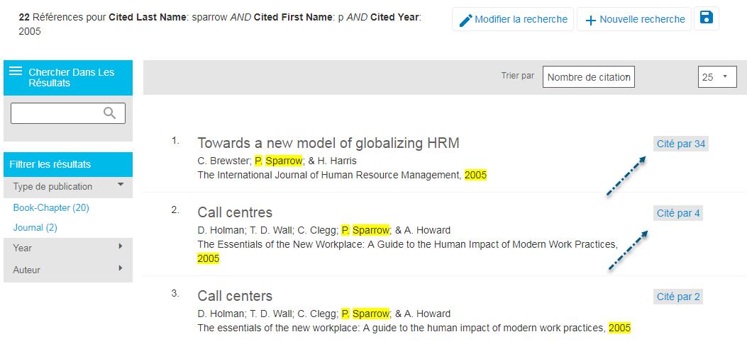 Capture d'écran de la page de résultats des références citées de l'APA PsycNET, avec P. Sparrow et 2005 en surbrillance