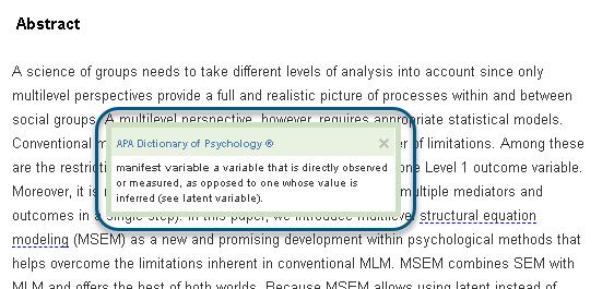 Capture d'écran montrant la fenêtre contextuelle qui apparaît après un clic sur l'expression «variables manifestes», soulignée en pointillés dans la version HTML du texte intégral