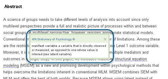 """Screenshot des Tooltips, der eingeblendet wird, wenn im HTML-Text auf die mit einer gestrichelten Linie gekennzeichneten Worte """"manifest variable"""" geklickt wird"""