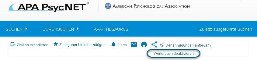 """Screenshot mit eingekreistem Link """"Wörterbuch deaktivieren"""""""