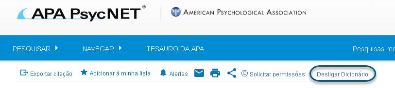 """Captura de tela mostrando o link """"Desligar dicionário"""" circulado"""