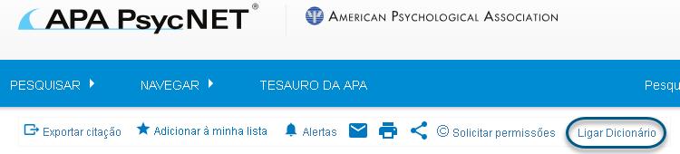 """Captura de tela mostrando o link """"Ligar dicionário"""" circulado"""
