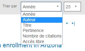 Capture d'écran montrant la section Afficher de PsycNET avec le menu déroulant Trier par ouvert et l'option Auteur sélectionnée