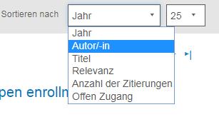 """Screenshot des Bereichs """"Anzeigen"""" in PsycNET mit geöffneter Aufklappliste """"Sortieren nach"""" und ausgewähltem Wert """"Autor/-in"""""""