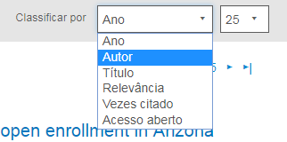 """Captura de tela mostrando a seção Exibir no PsycNET com o menu suspenso """"Classificar por"""" e o valor """"Autor"""" circulados"""