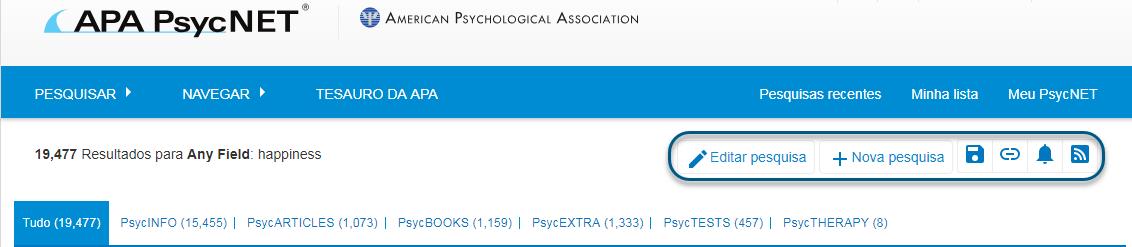 """Captura de tela do PsycNET mostrando os links """"Editar pesquisa"""" e """"Nova pesquisa"""" circulados, além dos ícones """"Salvar pesquisa"""", """"Obter permalink"""", """"Definir alerta de email"""" e """"Obter feed RSS"""" circulados"""