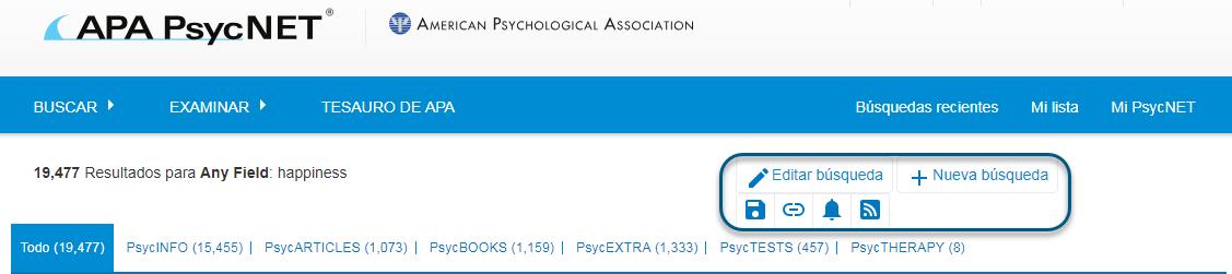 Captura de pantalla de PsycNET mostrando los enlaces Editar búsqueda y Nueva búsqueda en un círculo, así como los iconos Guardar búsqueda, Obtener enlace permanente, Definir alerta de correo electrónico y Obtener enlace permanente en un círculo