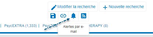 Capture d'écran de PsycNET avec une flèche vers l'icône Alertes par e-mail