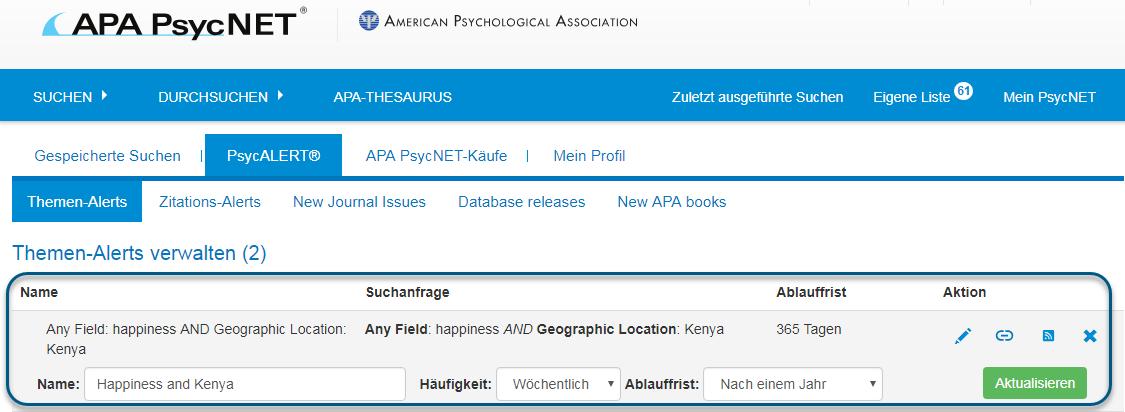 """Screenshot des PsycALERT-Bildschirms mit eingekreistem Bereich """"Themen-Alerts verwalten"""", in dem als Name """"Happiness and Kenya"""", als Häufigkeit """"Wöchentlich"""" und als Ablauffrist """"Nach einem Jahr"""" angegeben sind"""