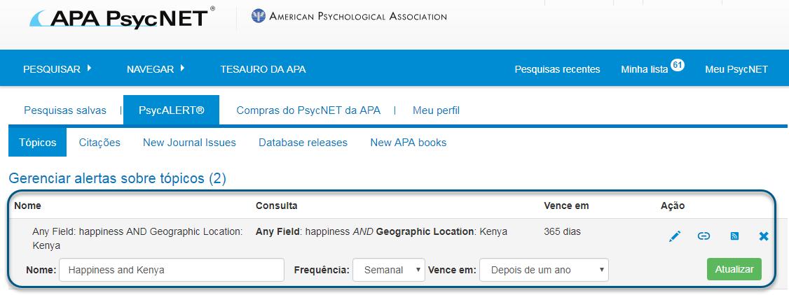 """Captura da tela do PsycALERT mostrando a seção """"Gerenciar alertas sobre tópicos"""" circulada com """"Name of Happiness"""" e """"Kenya"""", """"Frequência semanal"""" e """"Vencimento depois de um ano"""""""