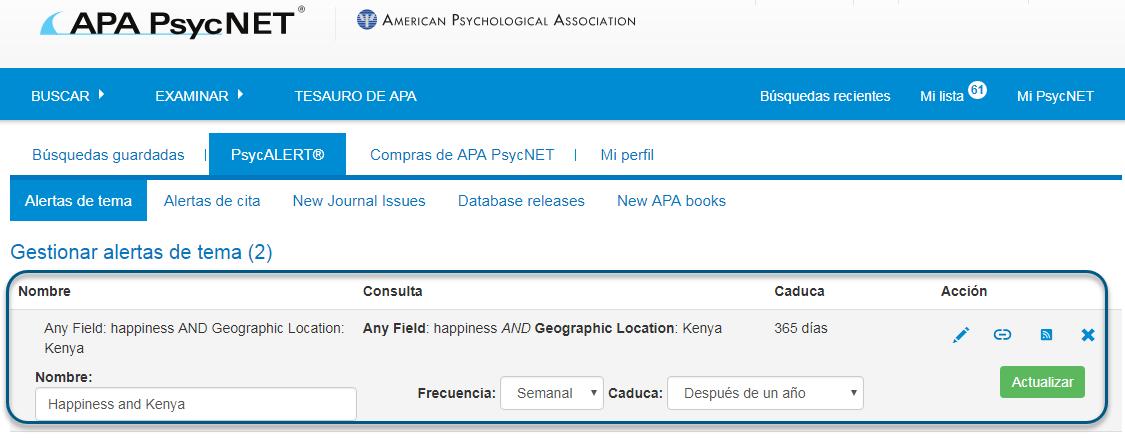 Captura de pantalla de la pantalla de PsycALERT mostrando la sección Gestionar alertas de tema en un círculo, con Nombre de Happiness y Kenya, Frecuencia Semanal y Caduca Después de un año