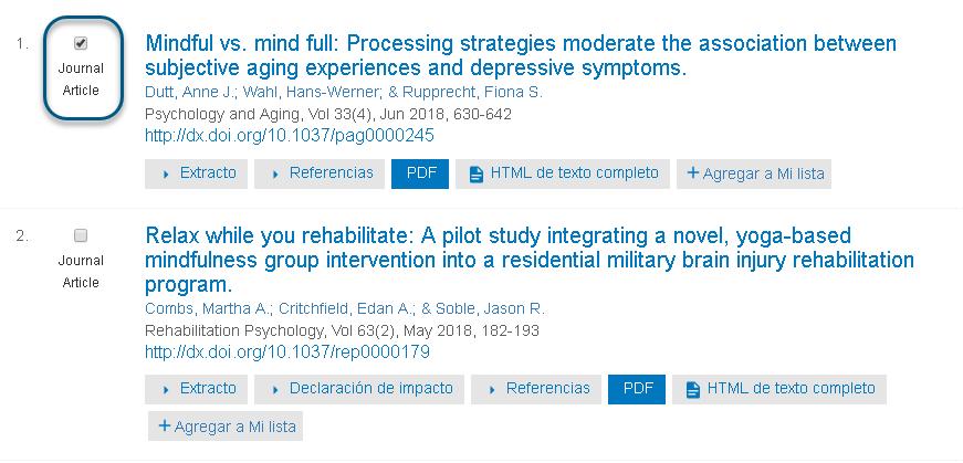 Capture d'écran montrant un article de revue spécialisée sélectionné dans PsycNET