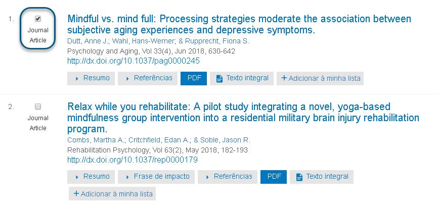Captura de tela mostrando um artigo de periódico marcado no PsycNET