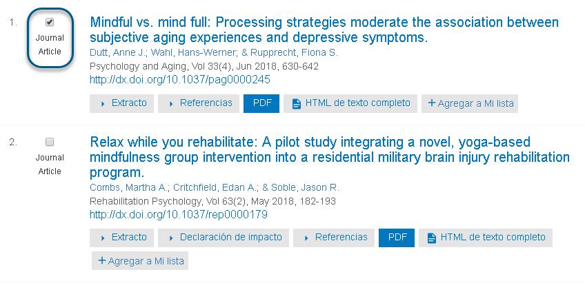 Captura de pantalla que muestra un Artículo de revista especializada seleccionado en PsycNET