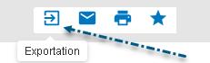 Capture d'écran avec une flèche vers le bouton Exporter dans PsycNET