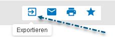 """Screenshot mit einem auf das Symbol """"Exportieren"""" in PsycNET deutenden Pfeil"""