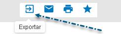 Captura de tela mostrando uma seta apontando para o ícone de exportar no PsycNET