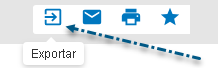 Captura de pantalla que muestra una flecha apuntando al icono Exportar en PsycNET