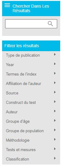 Capture d'écran montrant la section Filtrer les résultats sur la page des résultats de PsycNET, avec la section Groupe de population ouverte