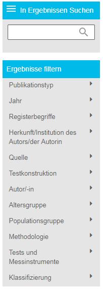 """Screenshot des Abschnitts der Filterergebnisse auf der PsycNET-Ergebnisseite mit geöffnetem Bereich """"Populationsgruppe"""""""