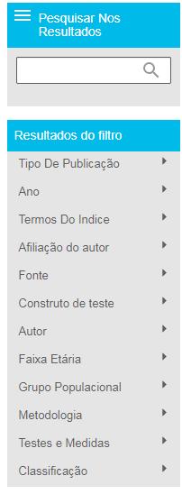 """Captura de tela mostrando a seção de filtrar resultados na página de resultados do PsycNET, com a seção """"Grupo populacional"""" marcada como aberta"""