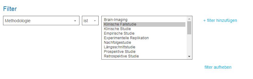 """Screenshot der Filter mit """"Klinische Fallstudie"""" als Methodologie"""