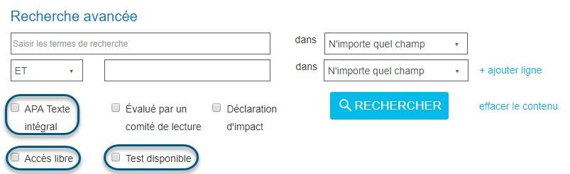 Capture d'écran de la page Recherche avancée de PsycNET montrant les cases de sélection des champs Texte intégral APA, Accès libre et Test disponible entourées