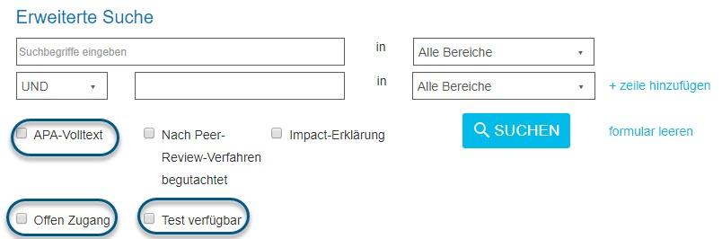 """Screenshot des Bildschirms """"Erweiterte Suche"""" in PsycNET mit eingekreisten Kontrollkästchenfeldern """"APA-Volltext"""", """"Offen Zugang"""" und Test verfügbar"""""""