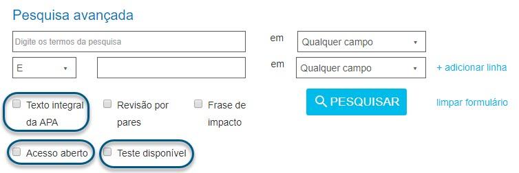 """Captura da tela de pesquisa avançada do PsycNET mostrando as opções """"Texto integral da APA"""", """"Acesso aberto"""" e """"Teste disponível"""" circuladas"""