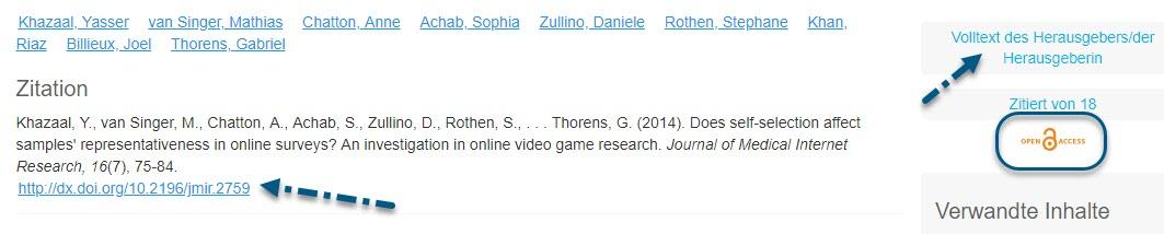 """Screenshot von PsycNET mit Pfeil zum Link """"Volltext des Herausgebers/der Herausgeberin"""", eingekreistem Symbol """"Open Access"""" und Pfeil zum DOI-Link"""