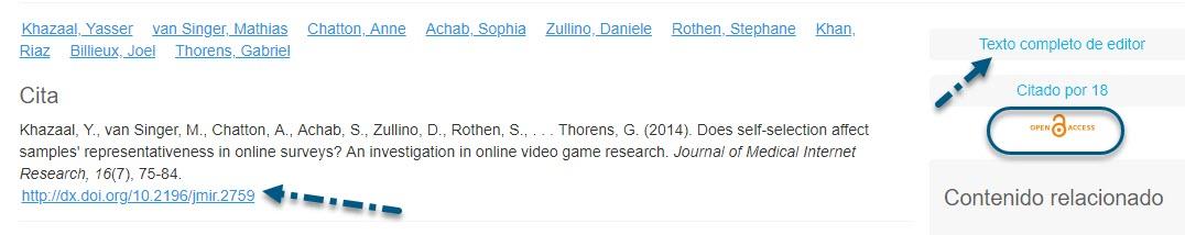 Captura de pantalla de PsycNET que muestra la flecha que apunta al enlace Texto completo del editor, con el enlace del icono de Acceso abierto en un círculo y la flecha apuntando al enlace DOI