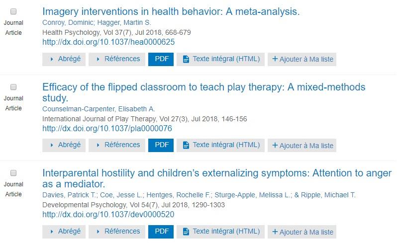 Capture d'écran montrant les résultats de recherche PsycNETavec les boutons PDF