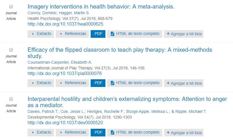 Captura de pantalla que muestra los resultados de búsqueda de PsycNET con botones PDF