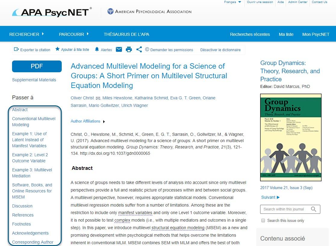 Texte intégral (HTML) d'un article de la revue Groupe Dynamics, avec les champs Passer à entourés